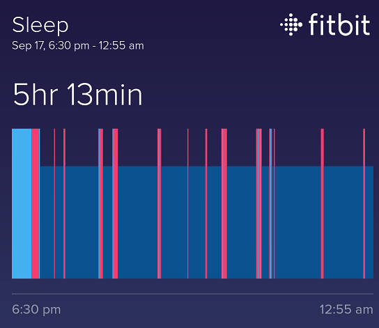 My fitbit sleep graph relevant to the time discussed.